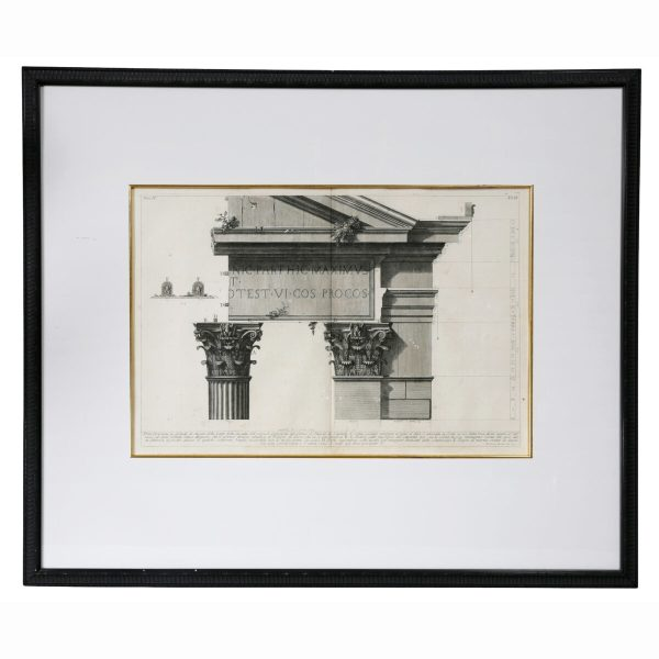 Framed Engraving of a Corinthian Column and Architrave by Francisco Piranesi