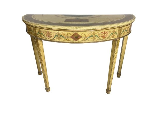 George III Painted Demilune Console Table