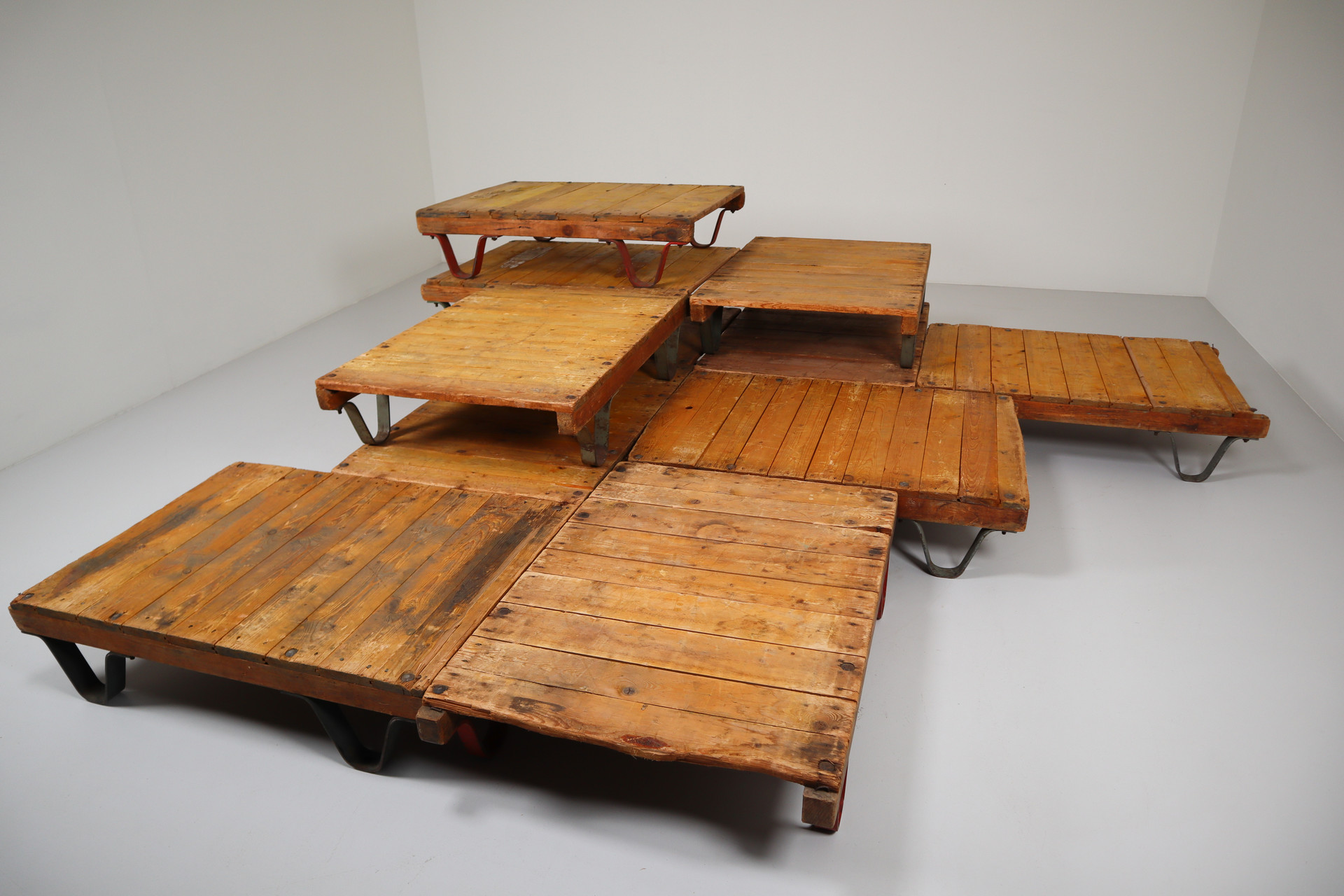 antique industrial wood iron pallets