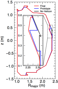 Fig. 4: Different wall shapes used in the modeling including the final measured outline (red trace), the shape used for the prototype modeling (blue trace), and the standard DIII-D limiter without any antenna (black). The inset graphic is a zoomed-in view of the limiter shape only including the helicon antenna region.