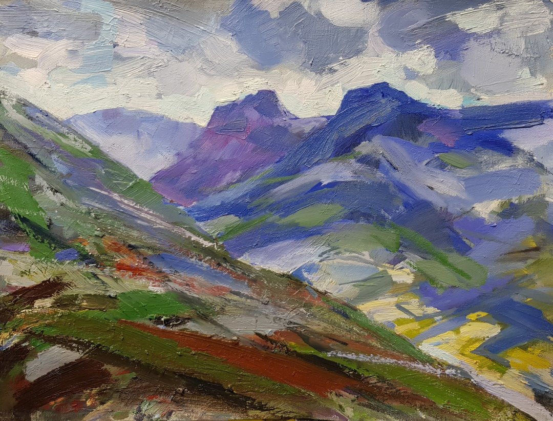 The Langdales - windy day, showers from the east