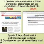 L'immagine denuncia del Blog di Beppe Grillo sull'articolo cancellato dal Corriere.it