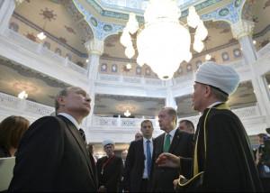 Putin all'inaugurazione della moschea di Mosca nel 2015