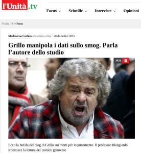 """L'articolo dell'Unità che inizia così: """"Ecco la bufala del blog di Grillo sui morti per inquinamento""""."""