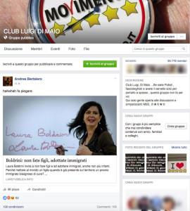 Screenshot del gruppo e il post in questione