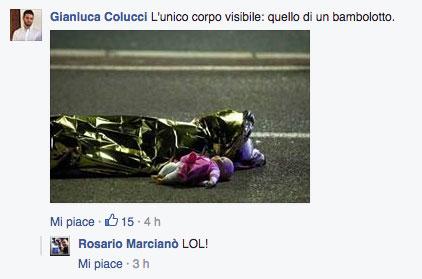 """Rosario Marcianò ride di fronte alla foto """"simbolo"""" della strage di Nizza. Per lui tutto falso."""
