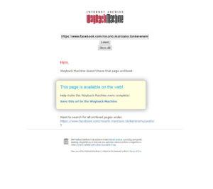 """Fase 2: non essendo nel database di Web.Archive richiedo il salvataggio cliccando su """"Save this url"""""""