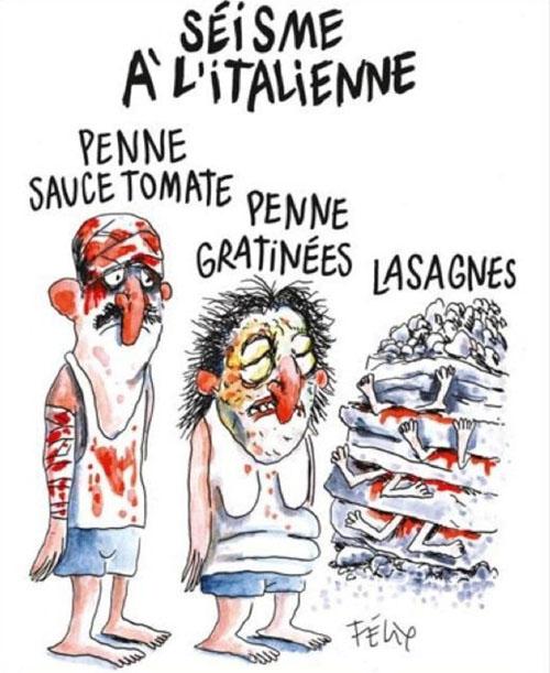 """""""Séisme à l'italienne: penne sauce tomate, penne gratinées, lasagnes"""" - vignetta di Felix"""