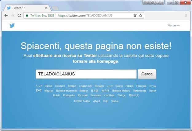"""Il link """"https://twitter.com/TELADOIOLANIUS"""" da come risultato """"Spiacenti, questa pagina non esiste!"""""""