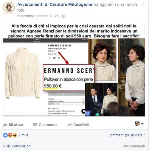 Le critiche al maglione di Agnese Renzi