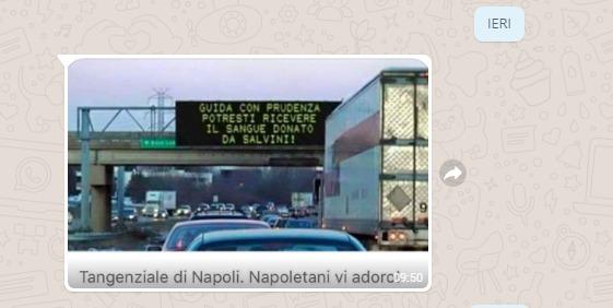"""BUFALA Tangenziale Napoli: """"Guida con prudenza, potresti ricevere il sangue donato da Salvini"""""""