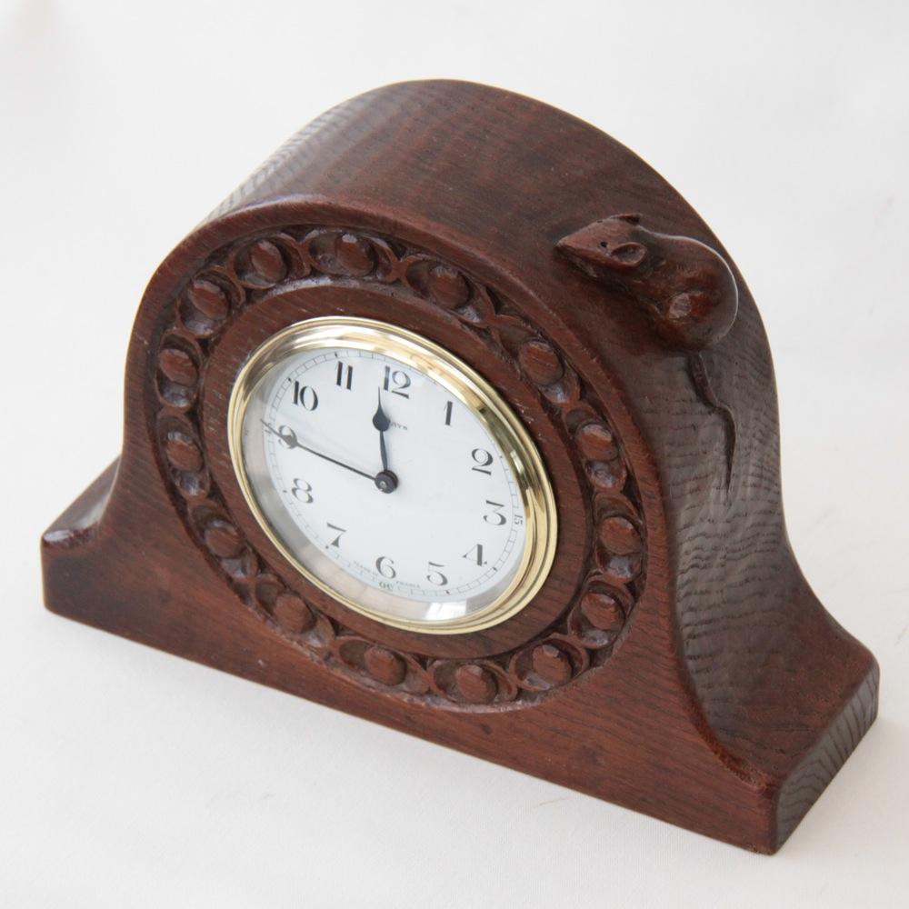 Robert Thompson Mouseman Rare Early Oak Mantle Clock