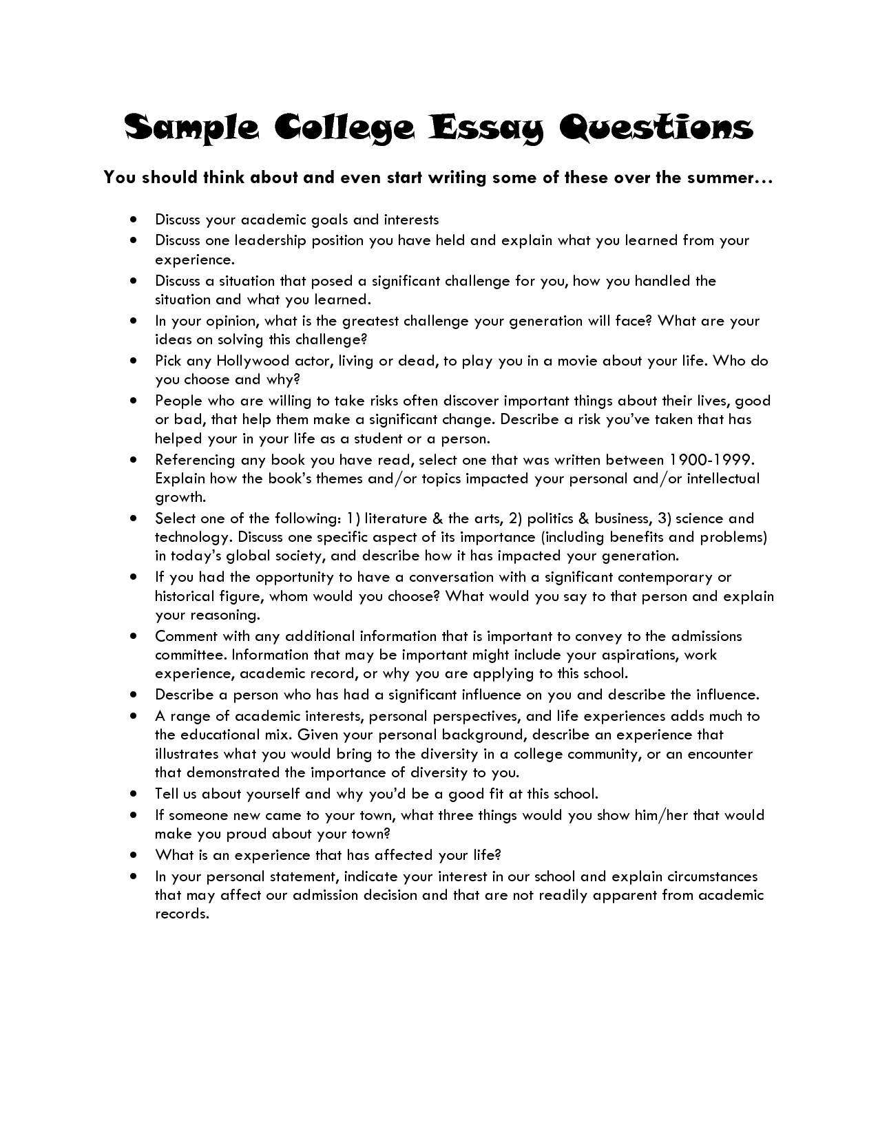 stanford admission essay question