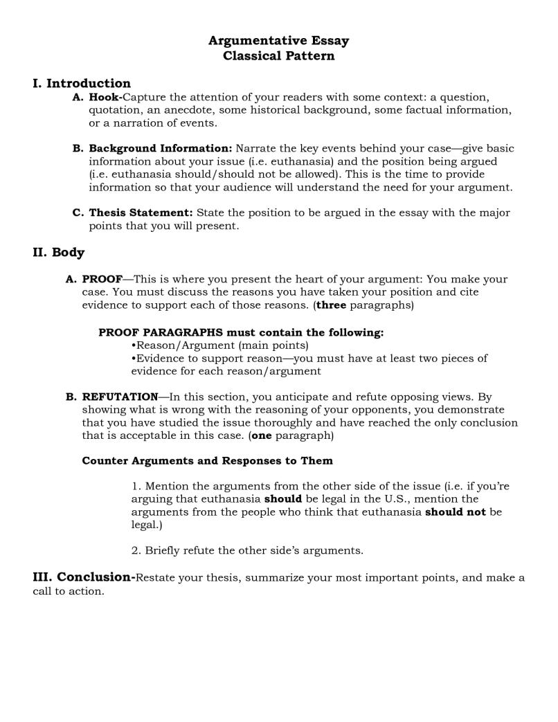 Classical argument essay outline example letterssite com