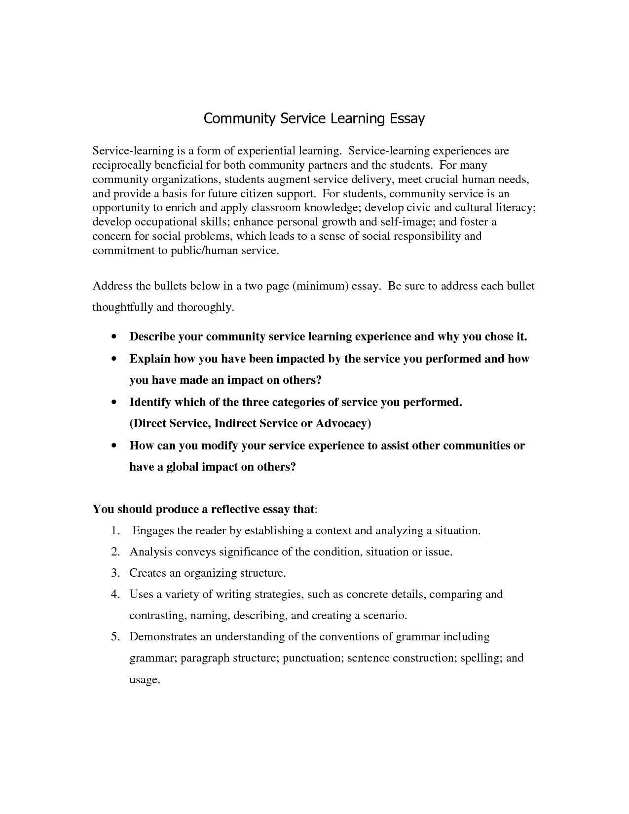 Service learning experience essay