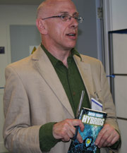 David Thorpe, writer, opening a new school library at St Matthew Academy, London, in May 2008
