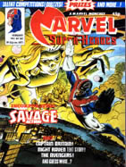 Captain Britain, Marvel Superheroes cover, written by David Thorpe, drawn by Alan Davis