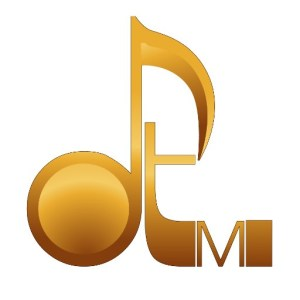 """A gold colored David Turner Music logo on a white background, with the lower case """"d"""" crafted to look like a musical note."""