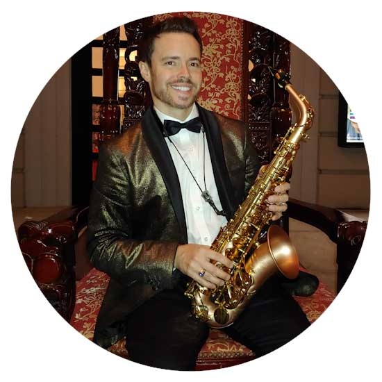 Circular image of saxophonist David Turner of Sarasota, FL
