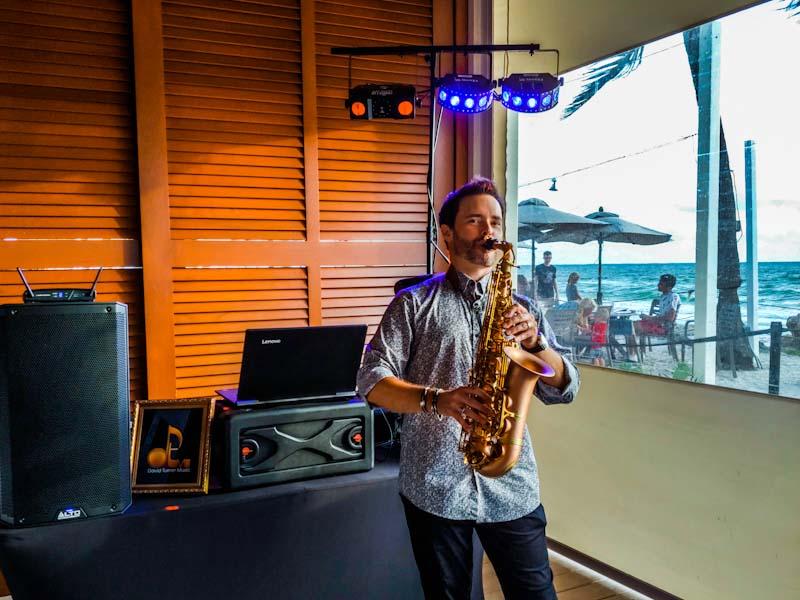 Sarasota saxophone player and DJ David Turner at a beach wedding in Anna Maria Island.