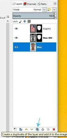 Udvostručite GIMP grafiku glavnog sloja na vodiču za lice