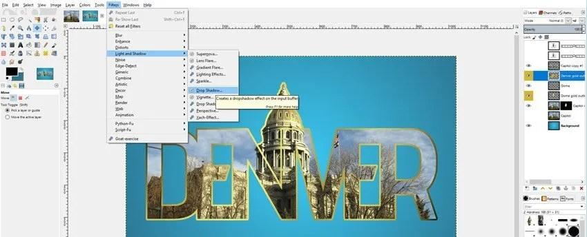 Applying a drop shadow GIMP photo in text tutorial
