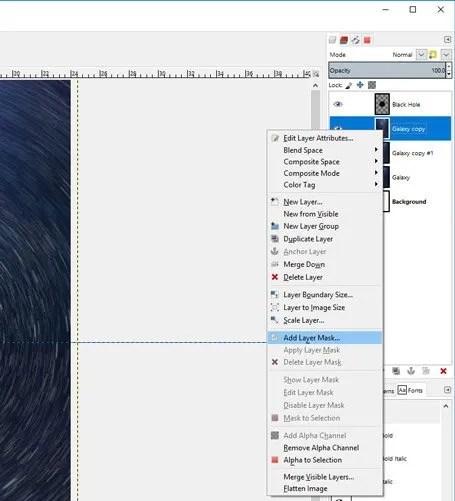 Rétegmaszk hozzáadása a réteghez a GIMP-ben