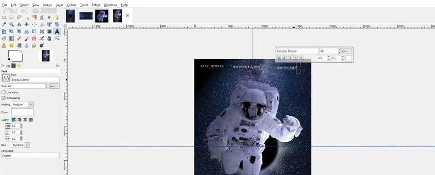A Cast tagok hozzáadása a GIMP film plakátjához
