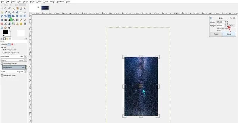 A méretméret csökkentéséhez használja a GIMP Scale Tool eszközt