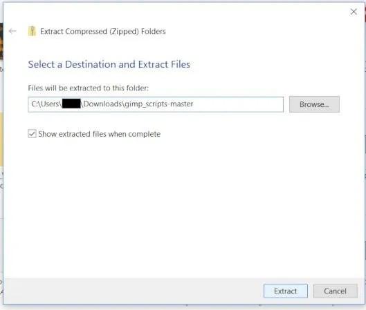 Odaberite lokaciju za vađenje GIMP datoteke dodatka