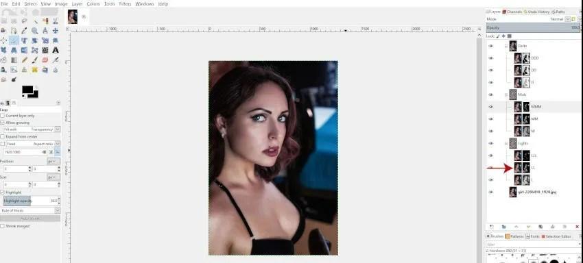 Ploča vaših slojeva sada će prikazati slojeve osvjetljenja u GIMP 2.10