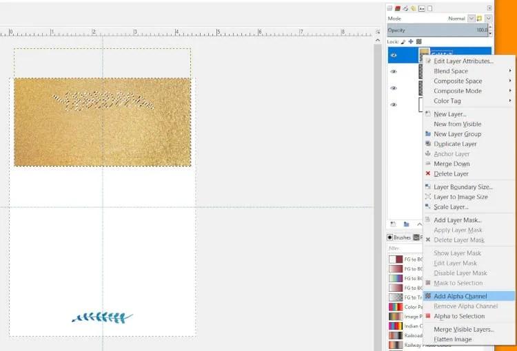 Añadir un canal alfa a la capa de lámina de oro
