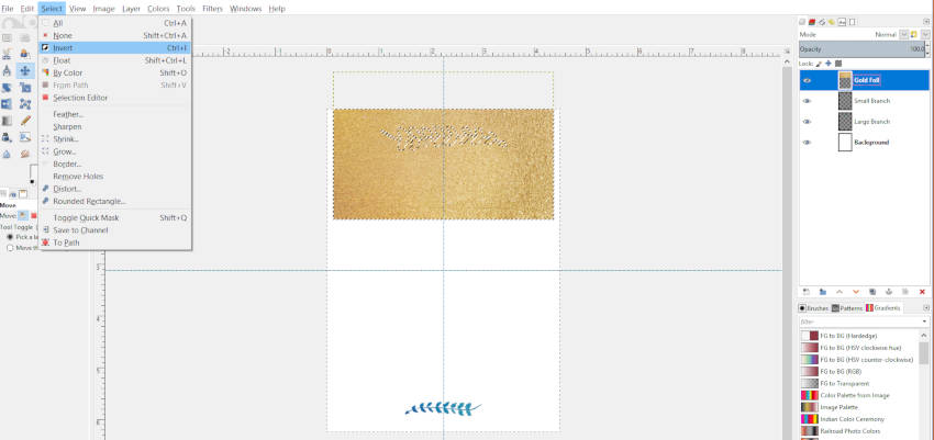 Alt Haga clic en la imagen y seleccione Invertir en GIMP