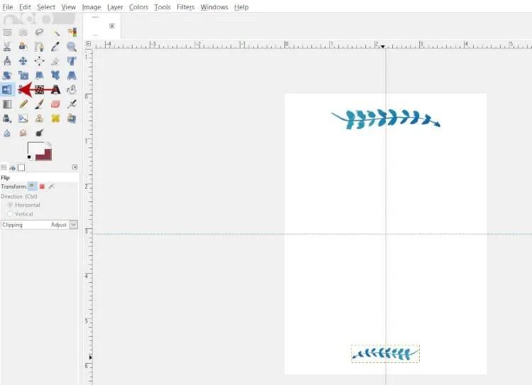 플립 도구를 사용하여 개체 뒤집기 GIMP 2.10.8