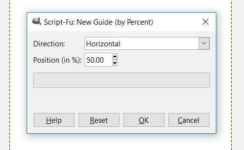 New Guide by Percent Window GIMP 2.10.8