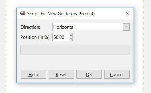 Nueva guía por ventana de porcentaje GIMP 2.10.8