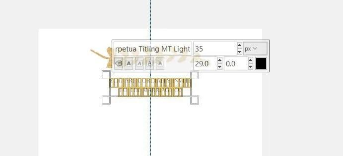 Szövegbeállítások Perpetua Light betűméret 35 vonal távolság 29 GIMP