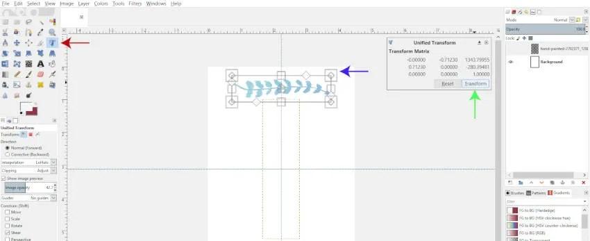 Usando la herramienta de transformación unificada en GIMP 2.10.8