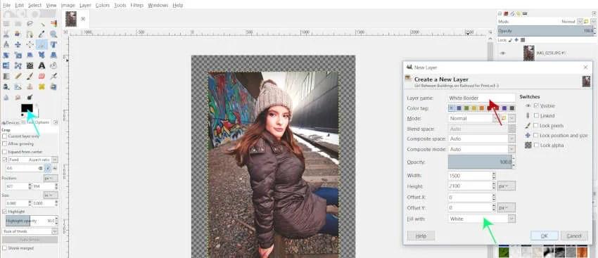 New Layer Options White Border GIMP Tutorial