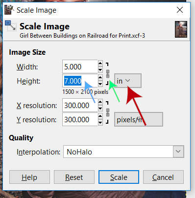 Scale Image Dialogue Box White Border GIMP Tutorial