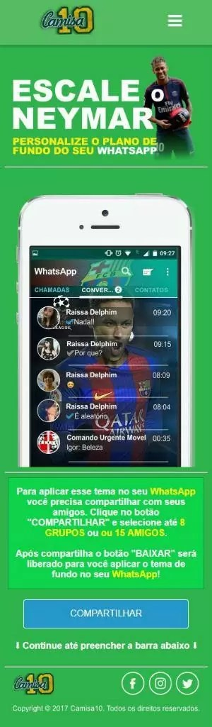 golpe no WhatsApp usa Neymar
