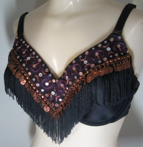 Indian Ribbon, copper coins, and chainette fringe Byzantium bra.