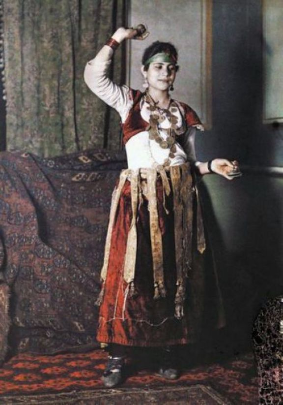 Autochrome Lumiere photo of Unknown Egyptian dancer by George Lekegian 1907-8 - Costume History Month - Studio Davina