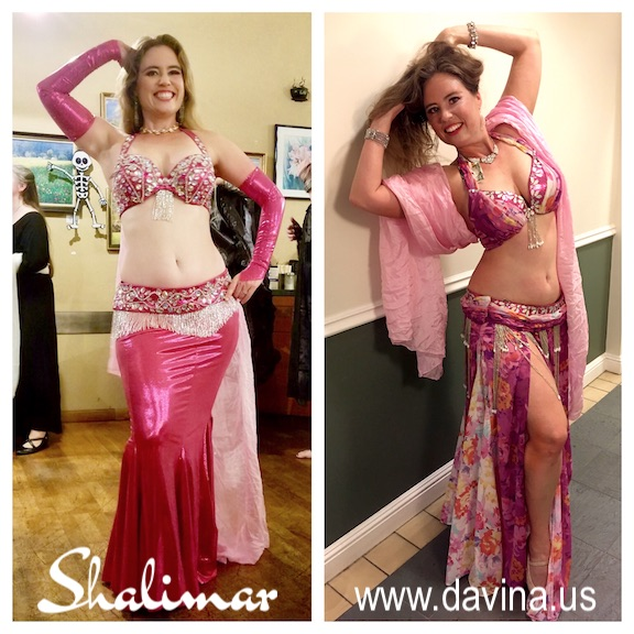 Shalimar in two pink costumes by Dawn Devine of Studio Davina