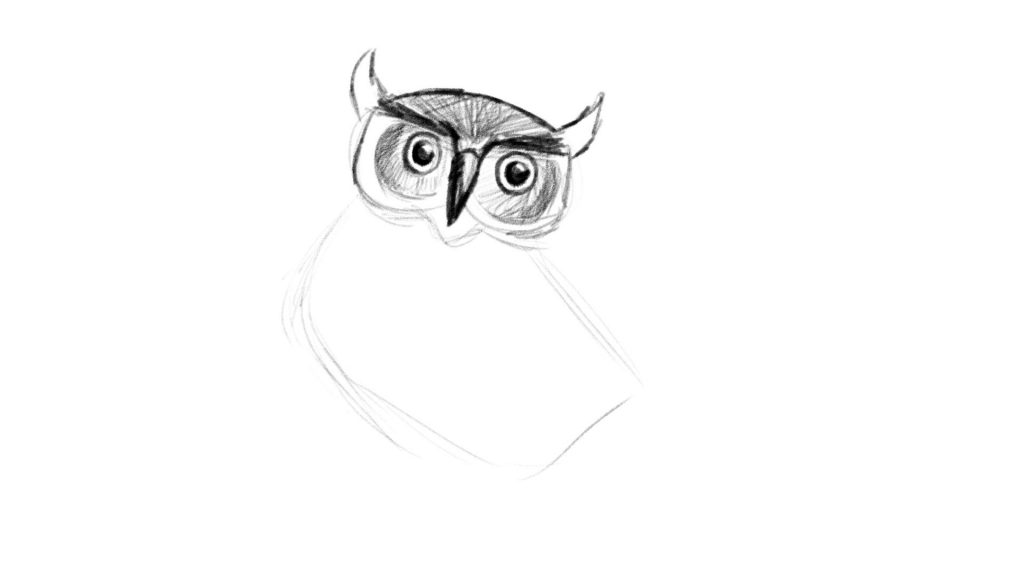 How to add tufts to your owl drawing