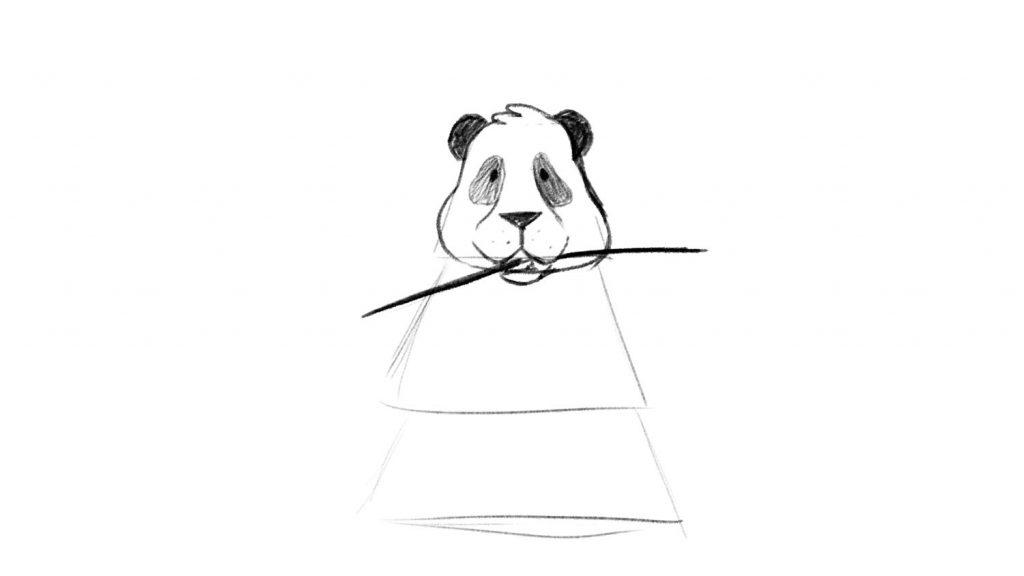 Drawing of panda eating bamboo