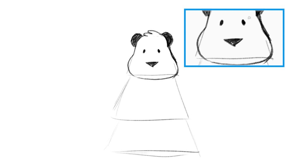 Drawing of panda with ears