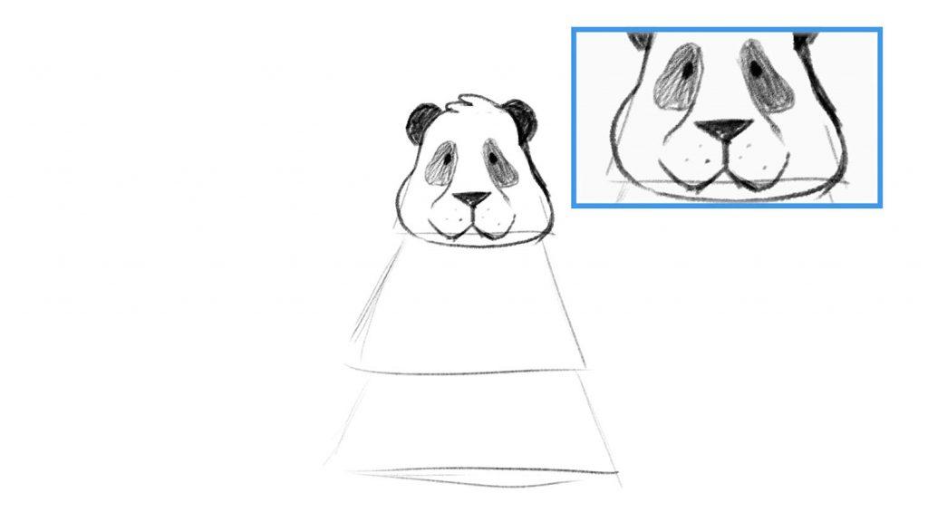 Darken eyes of panda drawing