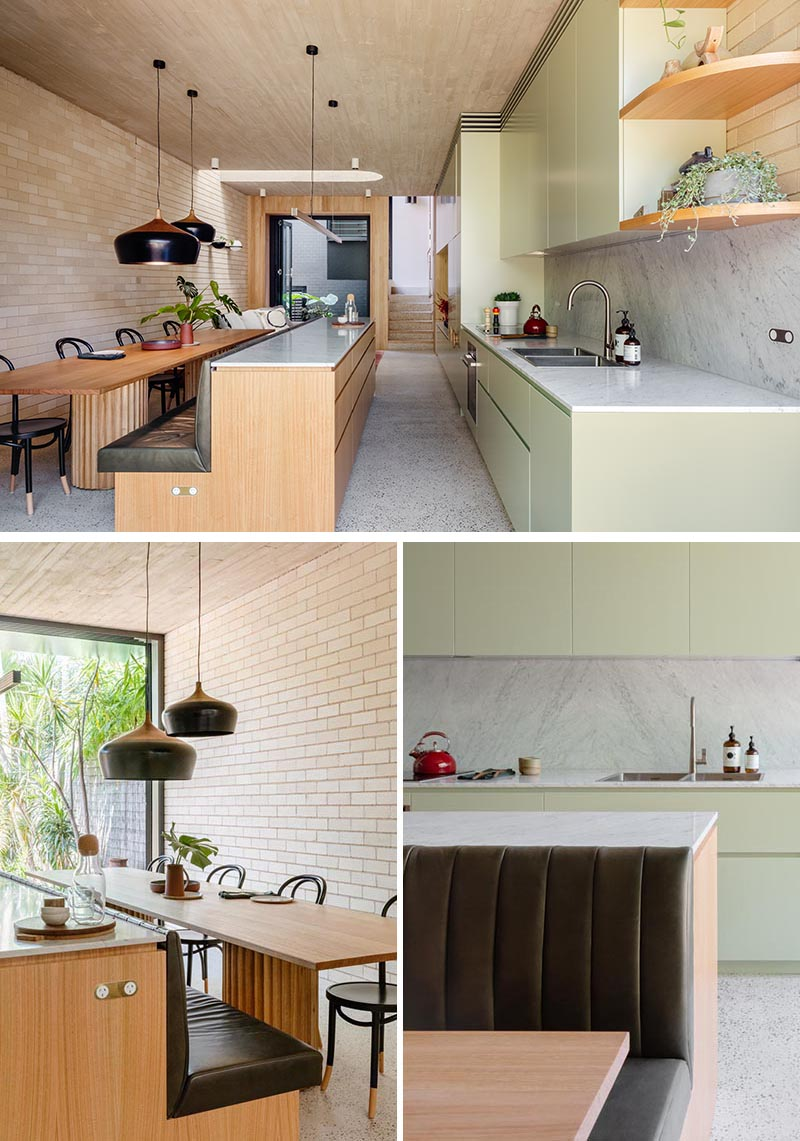 Contemporist This Kitchen Island Saves Space In A Narrow Interior By Including Built In Banquette Seating Contemporary Designers Furniture Da Vinci Lifestyle