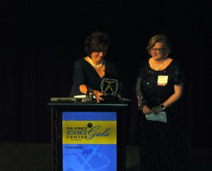 Kathleen McKenzie, vice president of community affairs for Highmark Blue Shield, presented the Distinguished Female STEM Leadership Award to Elizabeth Meade, interim president of Cedar Crest College.